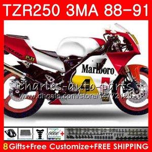 Corpo per Yamaha TZR250 3mA TZR-250 1988 1989 1990 1991 Glossy Argento rosso 118hm.aa TZR250 RS RR YPVS TZR250RR TZR 250 88 89 90 91 Kit carenatura