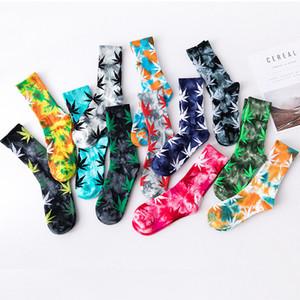 Hot High Cut Socken Frauen-Männer Sockings mit Druck der Blätter Unisex Freie Größe Baumwolle Sockings 5 Paare