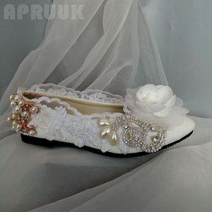 Crystal flower lace flats shoes woman handmade plus size 41 42 gold rhinestone pearls bridal wedding dancing flats shoe