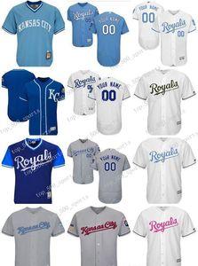Hombres, mujeres, jóvenes encargo KansasCityRoyals Jersey personalizado # 00 Cualquier Su nombre y número Inicio Blanco Azul jerseys del béisbol