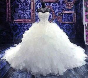 2019 Bordado de cuentas de lujo Boda Boda Vestidos nupciales Sweetheart Corset Organza Ruffles Catedral Bola Vestido Princesa Vestidos de novia Barato