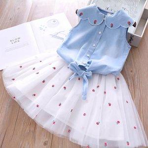 New Girl Summer Pétale collier à lacets brodé de fleurs Kids Set, Denim Top + Jupe courte Deux Piece Set Vêtements pour enfants