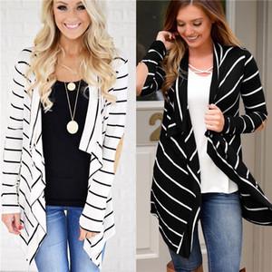 Para mujer Diseñador irregulares chaquetas de rayas con paneles de moda sueltas irregulares Womens Cardigan Outerwears Casual Las hembras de manga larga Ropa