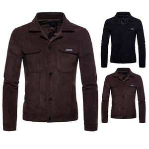 Corduroy Designer Mens Coats risvolto maniche lunghe sciolto uomo Giacche autunno della molla stampati Homme Outerwears