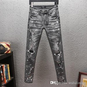 2020 Mens jeans Slim Fit Ripped Jeans Men Hi-Street Mens Distressed Denim Joggers Knee Holes Washed mens ripped jeans