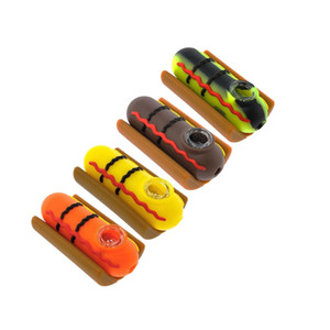 """Hot Dog Silicone Pipe Unbreakable Tobacco Hand Pipe Cheap Smoking Pipe With Glass Bowl 3.8 """""""