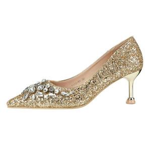 Seksi parıltı balo ayakkabı kırmızı gümüş altın yavru topuk 40'a gelinlik ayakkabı lüks kadın ayakkabı tasarımcısı boyutu 34 pompaları işaret