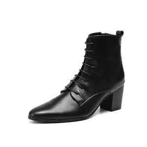 Pointed Genuine Leather Ankle Boots Thick Heels Men Shoes Cowboy Boots Black Men High Heels Lace Up Dress Boots Plus Size 45