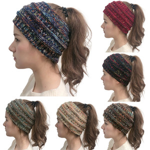Moda Örme Cap at kuyruğu Şapka Saç Bandı Kızlar Kadınlar Kış Beanie Hat Şenlikli Doğum Noel Parti Şapkası WX9-1758 Isınma Güz