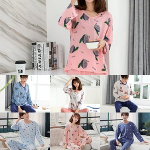 2020 couples pajamas milk dog cat home clothes and trousers simple cute comfortable long sleeve trousers can wear home clothes