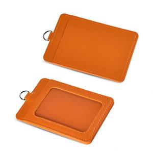 Badge Holder PU cuir Détenteurs cas verticale de carte d'identité Badge Couverture Etui Portefeuille avec Sacs détachable Sangle Longe d'affaires