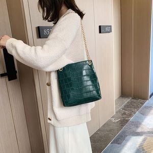 WOMEN'S Fashion Handbag 2020 New Style Chain Crossbody shoulder Bag Stone Block Pattern Pu Bucket Bag Leisure