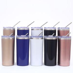 Vaso delgado de acero inoxidable de 20 oz Vaso recto aislado al vacío Cerveza Taza de café Copas de vino con tapas y pajitas de metal Agua