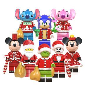 8pcs de Navidad regalos de los juguetes para niños bloques de construcción de santa claus decoraciones pequeñas figuras lindo Juguetes