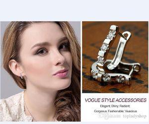 925 gümüş U tipi Earrings SGlamor çekicilik warovski zirkon küpe Doğum Hediye toptan ücretsiz gönderim