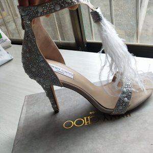 Fashion Feather Wedding Shoes 4 inch High Heel Crystals Rhinestone Bridal Shoes With Zipper Party Sandals Shoes For Women Size US4-11 77777
