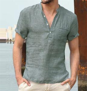 Solid Color Mens Designer Shirts lose beiläufige Knopf Kurzarm mit V-Ausschnitt Pullover Shirts Sommer-beiläufige Art und Weise der Männer Shirts