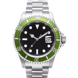 Beste Qualität Vintage Watches Mens mechanische automatische 2813 Antike Uhr-Mann-Grün Schwarz-Legierung Lünette Stahl 50th Anniversary Armbanduhren
