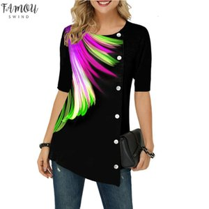 3D Feather Printed T Shirts Womens Short Sleeve New Summer Shirt Large Sizes 5Xl Ladies Top Buttons Short Sleeve 3D Tshirt