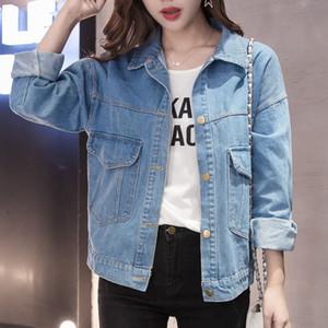 2019 Denim Ceket Kadınlar Büyük Boy Jeans Coat İlkbahar Sonbahar Ceket Kadınlar Mavi Palto ve Ceketler Veste En Jean 052221312321 KJ2348