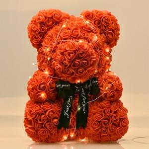 Dropshiping 40cm Ours de roses avec des cadeaux LED boîte-cadeau Ours en peluche Savon Rose mousse Fleur artificielle Nouvel An pour les femmes Saint-Valentin