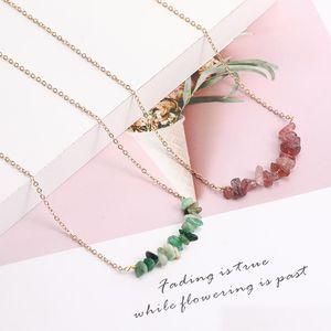 Trendy Böhmen-Natur-Stein-Perlen Halskette Schmuck Mode Vergoldet Chain Einfache Unregelmäßige Schotter Kette für Frauen