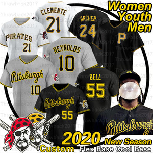Pittsburgh Josh Bell Jersey Roberto Clemente 21 Melky Cabrera Adam Frazier Francisco Cervelli Jameson Taillon 2020 estación de béisbol jerseys