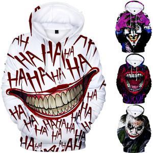 Erkekler Cadılar Bayramı Komik Joker Erkekler kadınlar 3D Kazak Kapüşonlular Hip Hop Elbise için Kapüşonlular kapşonlu sweatshirt Tops