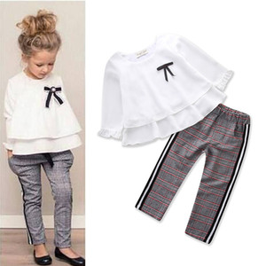 Toddler Baby Kids Girls Outfits Ruffle T Shirt Tops + Pantalones a cuadros Conjunto de ropa Mangas largas Ropa de otoño invierno Outfits