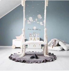 Ins новый качели висит стул детская комната украшения детские развлечения качели твердой древесины доска губка коврик хлопок веревка качели