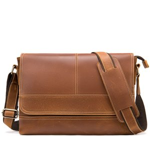Men Briefcase Bag High Quality Leather Shoulder Messenger Bags Office Handbag 13 Inch Laptop