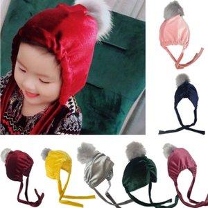 Chapéu do Natal bonito da criança Crianças GirlBoy Bebê do inverno infantil Quente Crochet Knit Beanie Cap Hat New Pleuche Venonat cordão