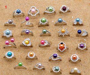 Oro blanco de plata anillo de la perla 18k plateado plateado ajustable anillo con agua dulce de color perla montado en la joyería de moda para la Mujer