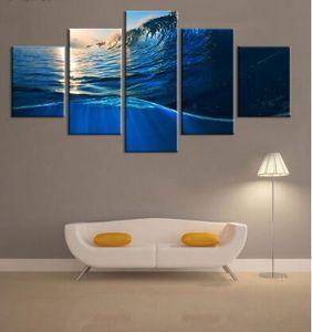 5Pcs set The Setting Sun Sea Wave Picture Canvas Print Canvas Painting Wall Art Canvas Painting For Home Decor Frameless