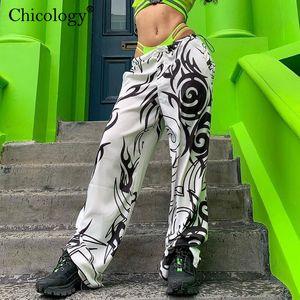 Chicology tribales de impresión en blanco y negro corredores pierna ancha pantalones streetwear inferior atractivo de 2019 mujeres de invierno frío otoño pantalones casuales Y200114