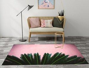 Doormat INS Style Green Palm Leaf Pink Living Room Area Rugs Children's Room Cushion Bedroom Floor Carpets Bathroom Non-slip Mat