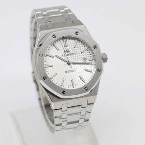 U1 Fabrik Qualität V3 AEHIBO Marke Silve Vorwahlknopf automatisches mechanisches Glas Rückseite Herrenuhr 42MM Edelstahl Uhren Royal Oak Armbanduhr
