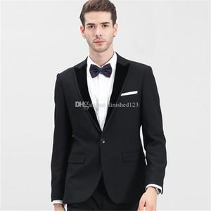 HAYIR Yüksek Kalite Tek Düğme Siyah Düğün Damat smokin Tepe Yaka Groomsmen Mens Akşam Blazer Suit (Ceket + Pantolon + Kravat): 1754