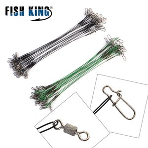 heap Fishing Lines 20pcs 16 20 25cm Stainless Steel Wire Leader Fishing Leash With Swivel 50LB Anti-bite Line Leadcore For Lure Accessori...