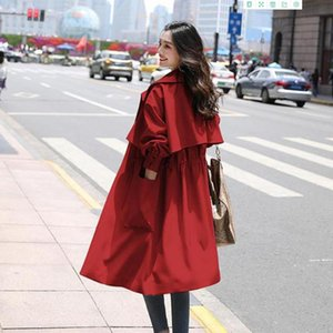 Women Trench 2020 Fashion long Section Solid jacket Coat Light weight Casual lady's Windbreak trench plus size