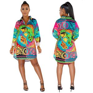 Hotspot-bedruckte Hemden und mehrfarbige Kleider für europäische und amerikanische Mode