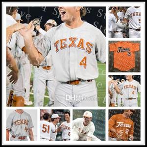 저렴한 사용자 정의 텍사스 Longhorns NCAA 대학 야구 2 코디 클레멘스 1 데이비드 해밀턴 4 테이트 쇼 52 Zach Zubia 모든 스티치 유니폼 도매