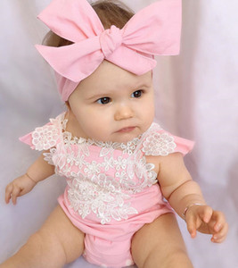 New Summer Fashion Lovely Cute Infant Baby Girls Pizzo Rosa Manica corta in cotone Tuta floreale Tuta Set di accessori per la fascia