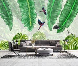 Tropical Banana Leaf Wallpaper Nordic Rain Forest Uccello parete di arte della decorazione della parete 3D Animal Papers Luxury Home Decor