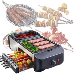 1800W del hogar Parrilla eléctrica Hot Pot parrilla de la barbacoa del hogar de la máquina Elecitrc barbacoa horno plancha caliente con olla Cooker220V