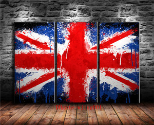 Union Jack UK Flag, 3P Canvas Pieces Home Decor HD Impreso Arte Moderno Pintura sobre Lienzo (Sin Marco / Enmarcado)