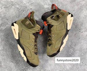 Authentic Travis Scott x Air 6 Cactus Jack Medium Olive GLOW IN THE DARK Suede 3M Men Basketball CN1084-200 Running Shoes Size 13