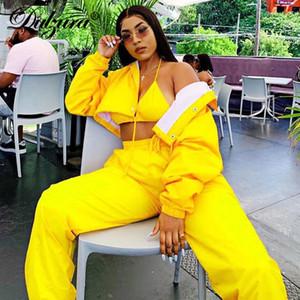Dulzura 2019 Automne Hiver Femmes Deux pièces ensemble manteau veste pantalon streetwear festival Vêtements outfit Co ord survêtement jogger club