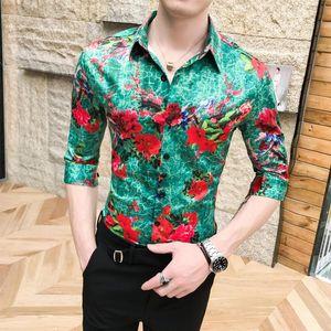 Stage Shirt for Men Turn-down collar Half sleeve Floral Shirt Korean style Blouse Men Flowers Fashion Summer