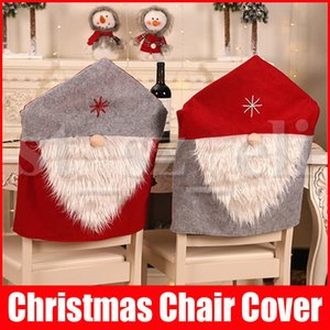 Tampa da cadeira de Natal Papai Noel Red Hat Chair Voltar Covers Cadeira Conjuntos Cap jantar para Xmas partido Home Decorações de Natal 50CM * 60CM